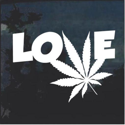 Love Marijuana Cannabis Leaf Window Decal Sticker