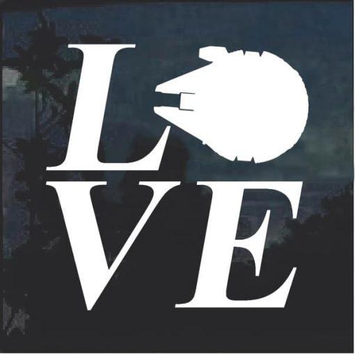 Love Millennium falcon Star Wars Window Decal Sticker