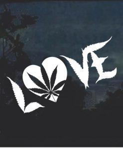 Marijuana Cannabis Love Heart Window Decal Sticker