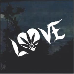 Marijuana Cannabis Love Heart Window Decal Sticker