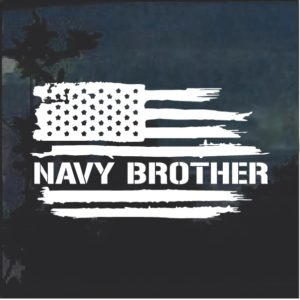 Navy Brother Weathered Flag Window Decal Sticker