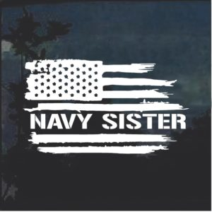 Navy Sister Weathered Flag Window Decal Sticker