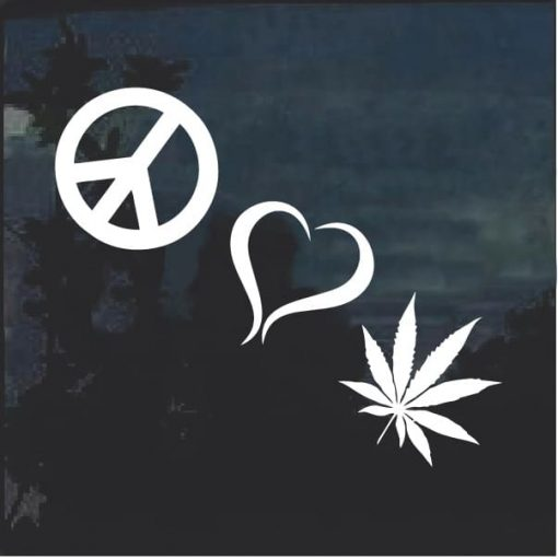 Peace Love Marijuana Cannabis Window Decal Sticker