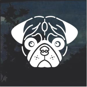 Pug Face Dog Window Decal Sticker