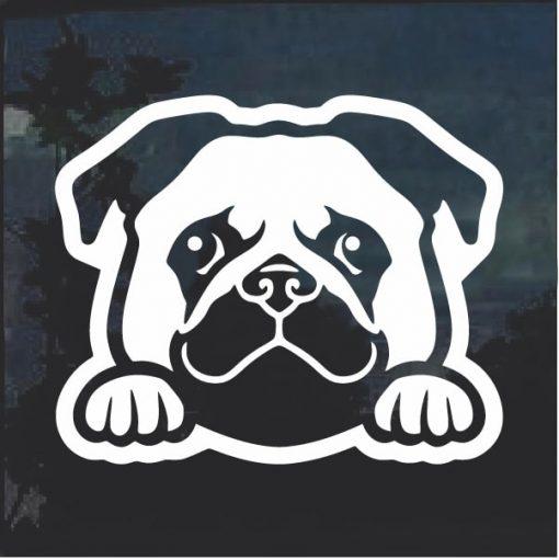 Pug Peeking Dog Window Decal Sticker