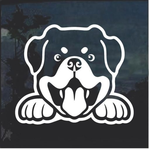 Rottweiler Peeking Dog Window Decal Sticker