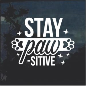 Stay Paw SITIVE Dog Window Decal Sticker
