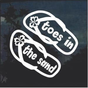 Toes in the sand Flip Flops Window Decal Sticker
