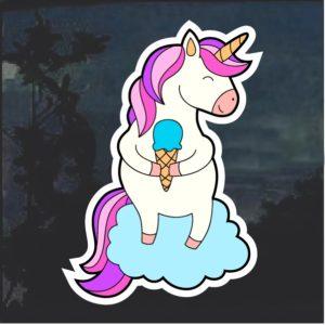 Unicorn With Ice Cream Cone Window Decal Sticker