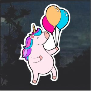 Unicorn with Balloons Window Decal Sticker