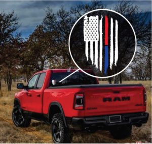 Red Line Fireman police Red & Blue Weathered Flag Decal Sticker