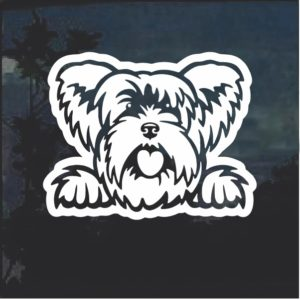 Yorkshire Terrier Peeking Dog Window Decal Sticker