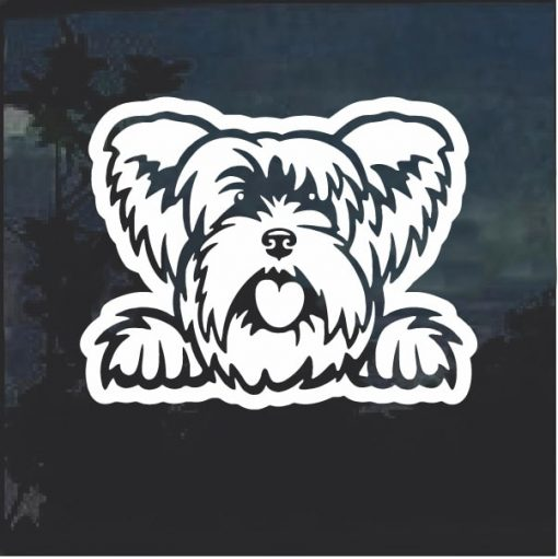 Yorkshire Terrier Peeking Dog Window Decal Sticker