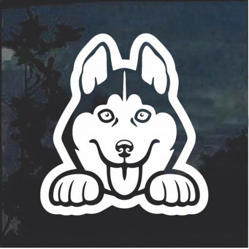 Husky Peeking Dog Window Decal Sticker