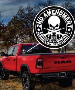 2nd Amendment Security Skull Window Decal Sticker