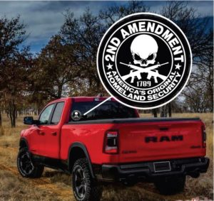 2nd Amendment Security Skull Window Decal Sticker