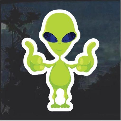 Alien Thumbs up Window Decal Sticker