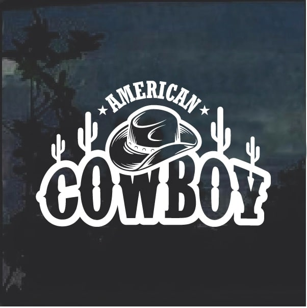 efa5424a American Cowboy hat and boots decal sticker