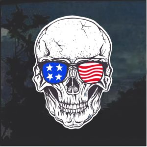 American Flag Sunglasses Skull Window Decal Sticker