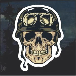 Army Helmet Skull Window Decal Sticker
