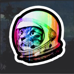 Astronaut space kitty decal sticker
