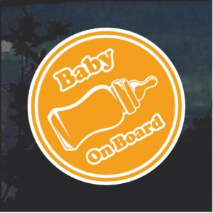 Baby On Board Bottle Round Window Decal Sticker