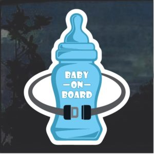 Baby On Board Blue Bottle Window Decal Sticker