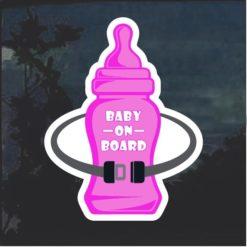 Baby On Board Bottle pink Window Decal Sticker