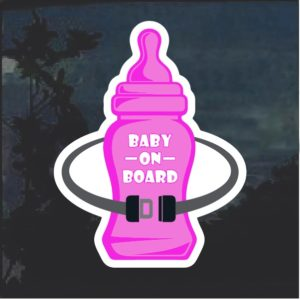 Baby On Board Bottle pink Window Decal Sticker