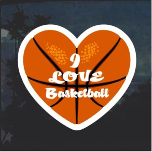 Love Basketball Heart Window Decal Sticker