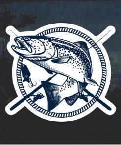 Bass Fisherman crossed poles Window Decal Sticker
