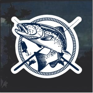 Bass Fisherman crossed poles Window Decal Sticker