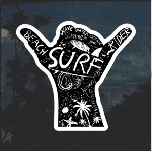 Beach Riders Surfing Window Decal Sticker