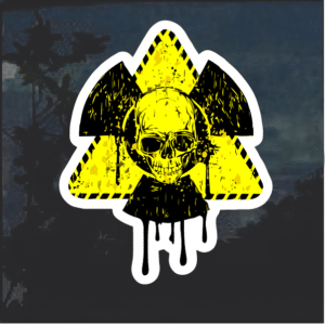 Bio hazard Skull Color Window Decal Sticker