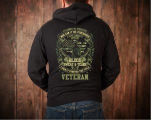 Blood Sweat and Tears Military Veteran Camo Hoodie