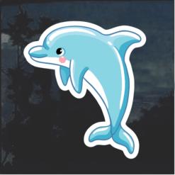 Blue Dolphin Window Decal Sticker