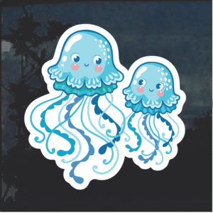 Blue Jellyfish Window Decal Sticker
