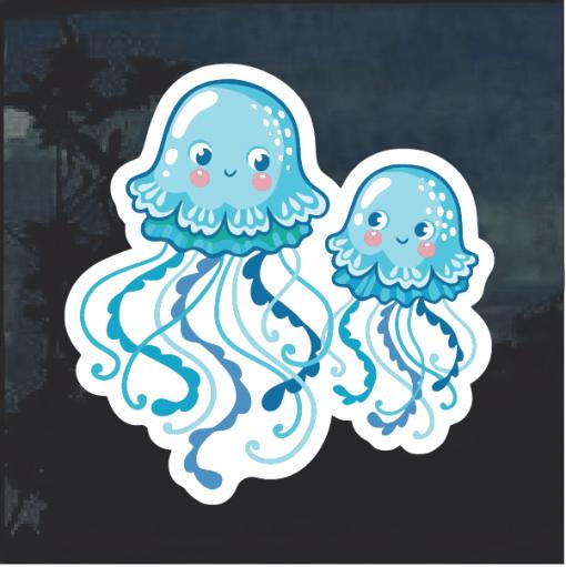Blue Jellyfish Window Decal Sticker