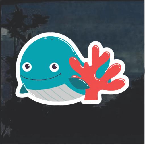 Blue Whale cartoon Window Decal Sticker