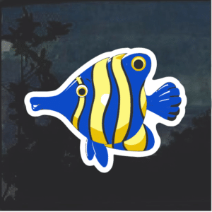 Blue and Yellow Striped Window Decal Sticker