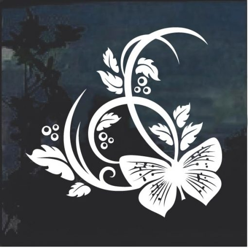 Butterfly On Plant Design Window Decal Sticker