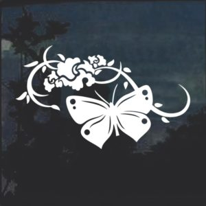 Butterfly with floral Window Decal Sticker