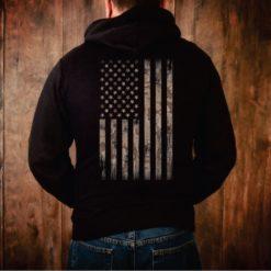 Camo Weathered American Flag Hoodie
