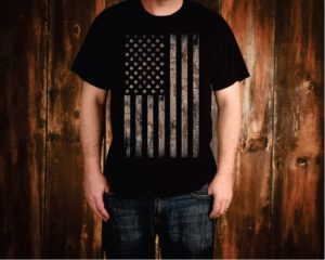 Camo Weathered American Flag Tee Shirt