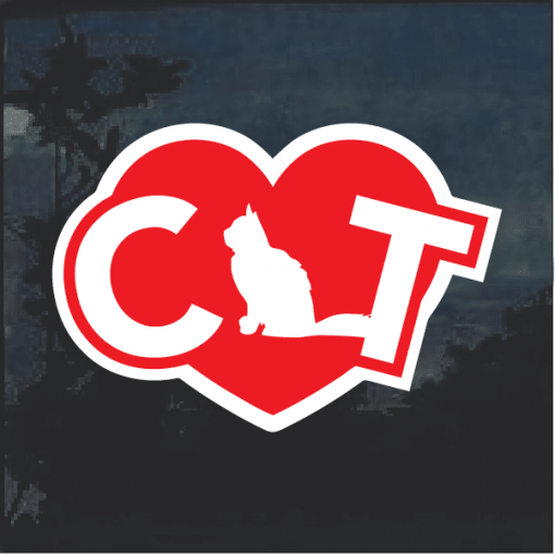 Cat Heart Love Decal Sticker