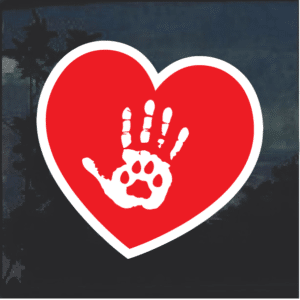 Cat Heart paw hand Window Decal Sticker