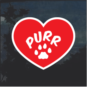 Cat heart Purr Window Decal Sticker