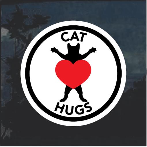 Cat hug love Window Decal Sticker