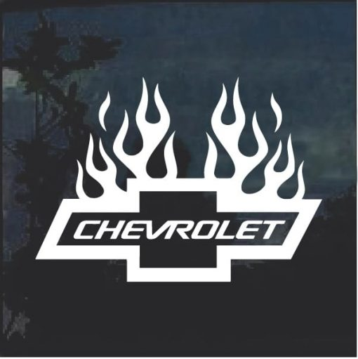 Chevrolet with Flames 4 Window Decal Sticker