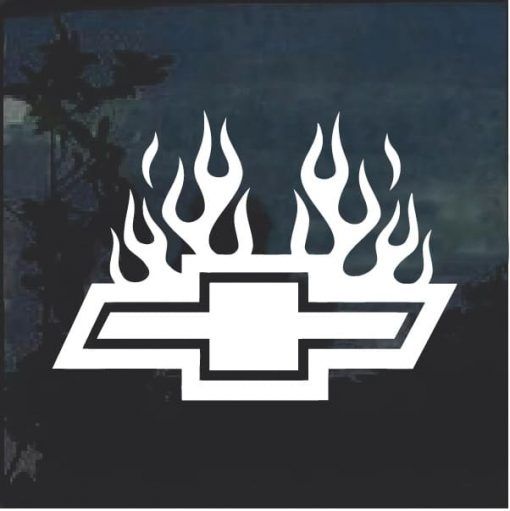 Chevy with Flames 5 Window Decal Sticker
